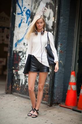 Model Frida Aasen in Leather Shorts