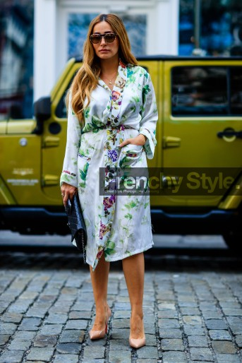black clutch, chanel, christian louboutin, fashion week, floral, flower, frenchystyle, full length, FW, green dress, high heels, jonathan paciullo, leather bag, leather shoes, NEW YORK, nude heels, NYFW, printed dress, robe, SPRING SUMMER 2017, SS 17, street style, sunglasses, vertical, woman
